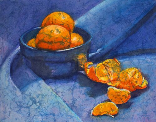 Clementines - watercolor batik by Krista Hasson