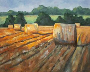 Harvest Light country oil painting by Krista Hasson