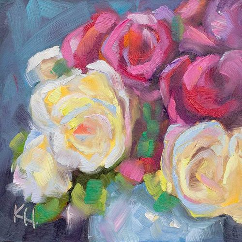 white and pink roses daily oil painting by krista hasson