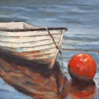 Dory row boat Low Tide oil painting Krista Hasson