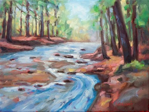 Study of Down by the River oil painting by Krista Hasson