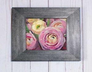 Ranunculus oil painting with frame krista hasson