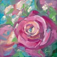 roses and baby's breath daily oil painting by Krista Hasson