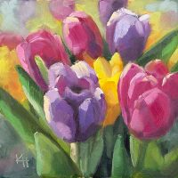 Spring Tulips oil by Krista Hasson