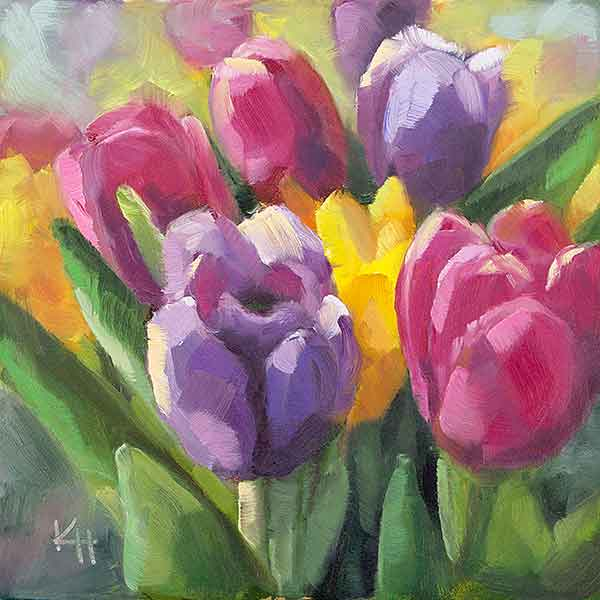 Spring Tulips – Day 4 of 30 paintings in 30 days