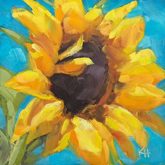 Sunflower #6 – Day 5 of the 30 day daily painting challenge