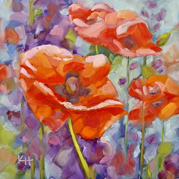Poppies and Lupines oil painting – Day 8 of the 30 day daily painting challenge