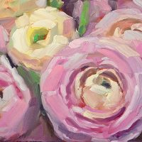 ranunculus daily oil painting by Krista Hasson