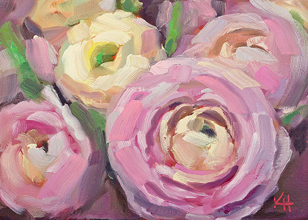 Ranunculus oil painting – Day 9 of the 30 day daily painting challenge