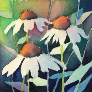 Negative painting white cone flowers by Krista Hasson
