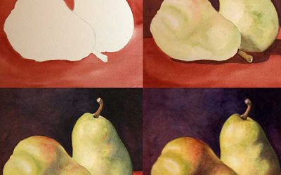Pears on Arches Watercolor Board Demo