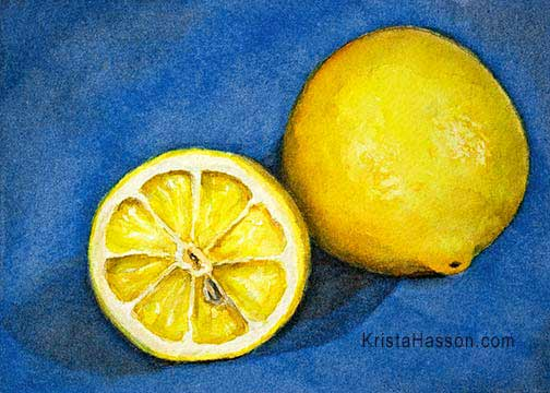Lemons Study in Watercolor Step by Step Demo