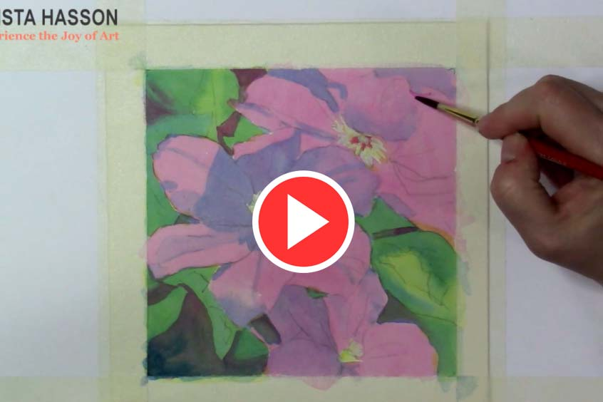 Clematis Video a Demo in Watercolor