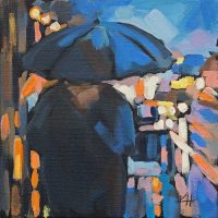 Rainy Night 1 Acrylic painting by Krista Hasson