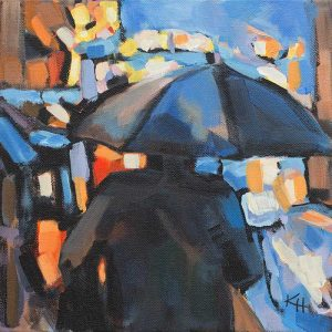 Rainy Night 2 Colorful Acrylic by Krista Hasson
