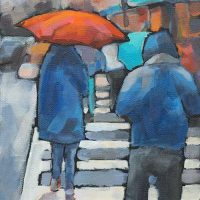 "Walking in the Rain - 10x8"" Acrylic by Krista Hasson"