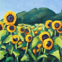 Happy Sunflowers original acrylic painting by Krista Hasson