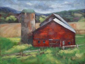 Before the Rain Oil Painting red barn by Krista Hasson