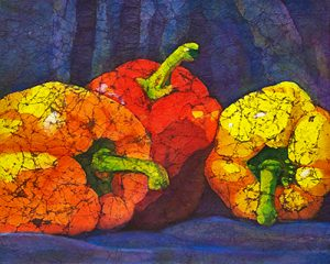 Peppers Watercolor batik by Krista Hasson