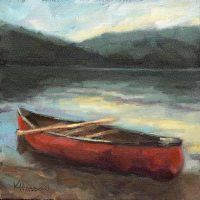 oil painting red canoe day trip by krista hasson