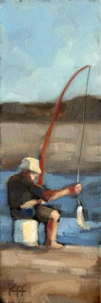 oil painting of man fishing day well spent krista hasson