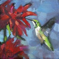 Hummingbird garden visitor 2 oil painting kristahasson