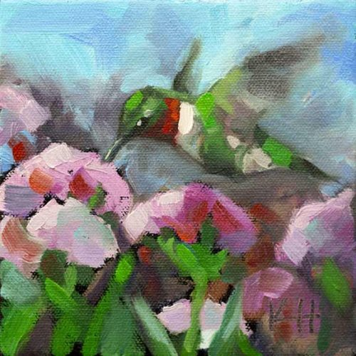 Hummingbird garden visitor 3 oil painting kristahasson