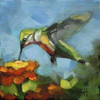 Hummingbird garden visitor oil painting kristahasson