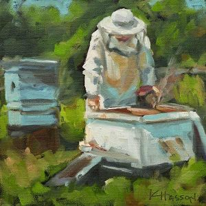 Beekeeper oil painting by krista hasson