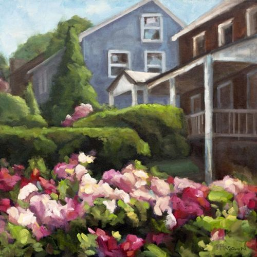 oil painting of flower garden by Krista Hasson