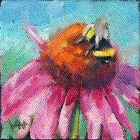Bee 2 oil painting 4x4 Krista Hasson