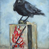 crow oil painting on sign