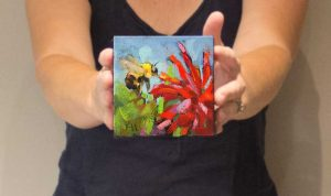 small daily oil painting bee
