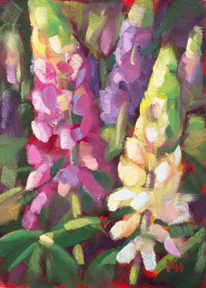 small daily oil painting lupines